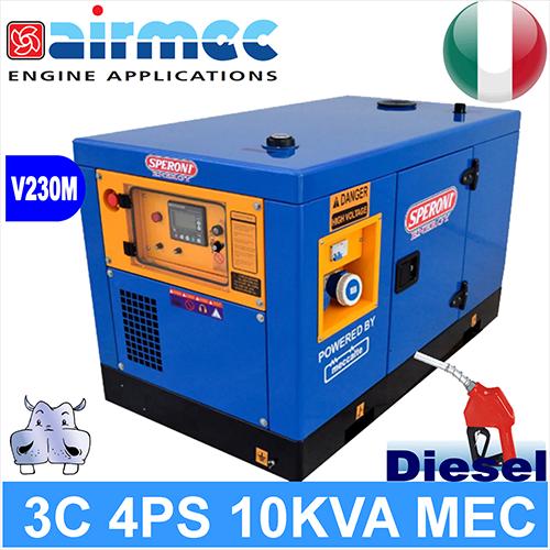 Generatore gruppo elettrogeno a diesel 3c 4ps 10kva mec a for Generatore di corrente 10 kw