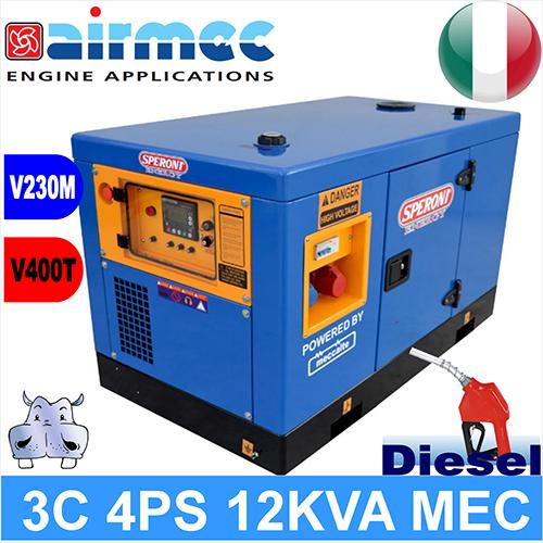 Generatore gruppo elettrogeno diesel 3c 4ps 12kva mec a 3 for Generatore di corrente 10 kw