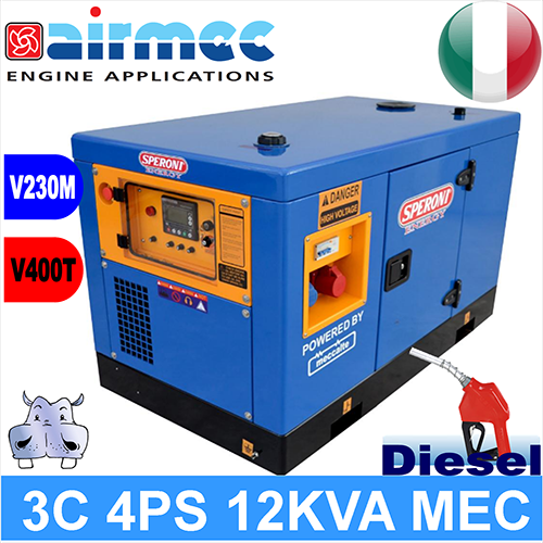 Generatore gruppo elettrogeno diesel 3c 4ps 12kva mec a 3 for Gruppo elettrogeno diesel 10 kw