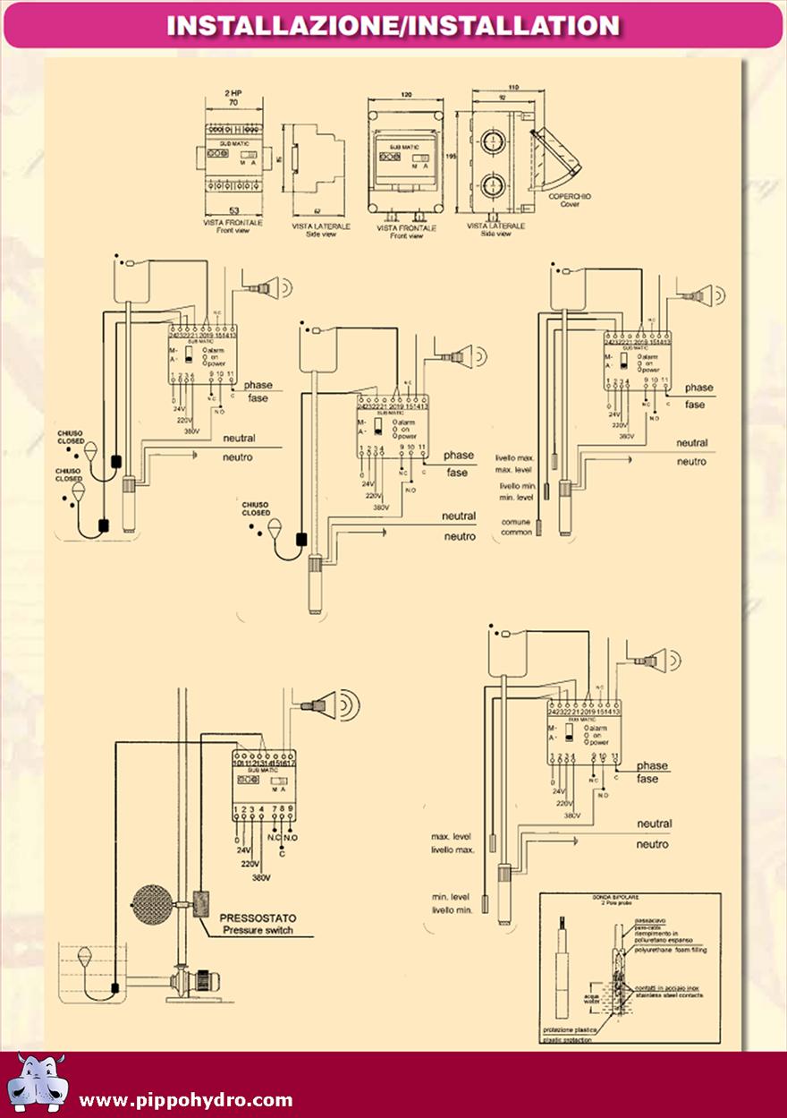 Schema Collegamento Galleggiante Pompa Sommersa : Matic controllo di livello sub quadri elettrici