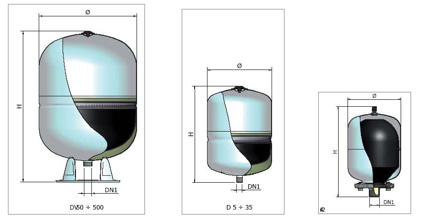 Elbi serbatoi polifunzionali serie dv autoclavi polmoni for Vasi di espansione a membrana