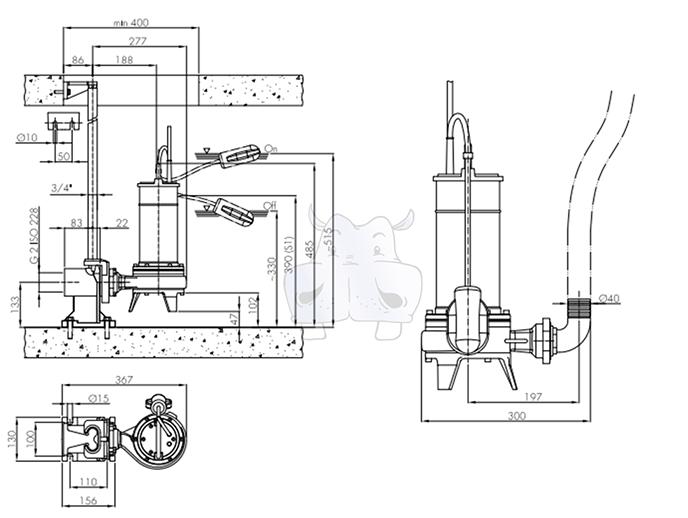 Schema Elettrico Per Pompa Ad Immersione : Hydropompe sommersa trifase trituratrice per fognature e