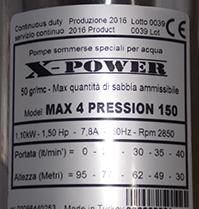 Schema Elettrico Pompa Sommersa Pozzo : X power pompe sommerse a doppia girante periferica in ottone max